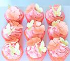 Strawberry cupcakes with flowers&butterflies