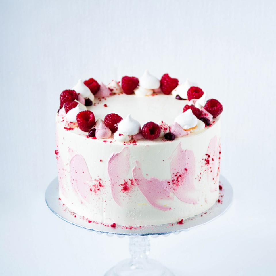 "8"" Lemon white chocolate raspberry cake buy £65.00 home delivery"