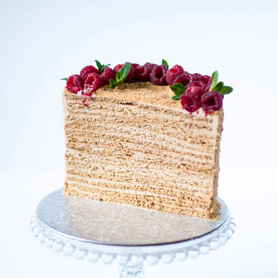 "Medovik 8"" honey caramel cake £70.00 buy online home delivery London"