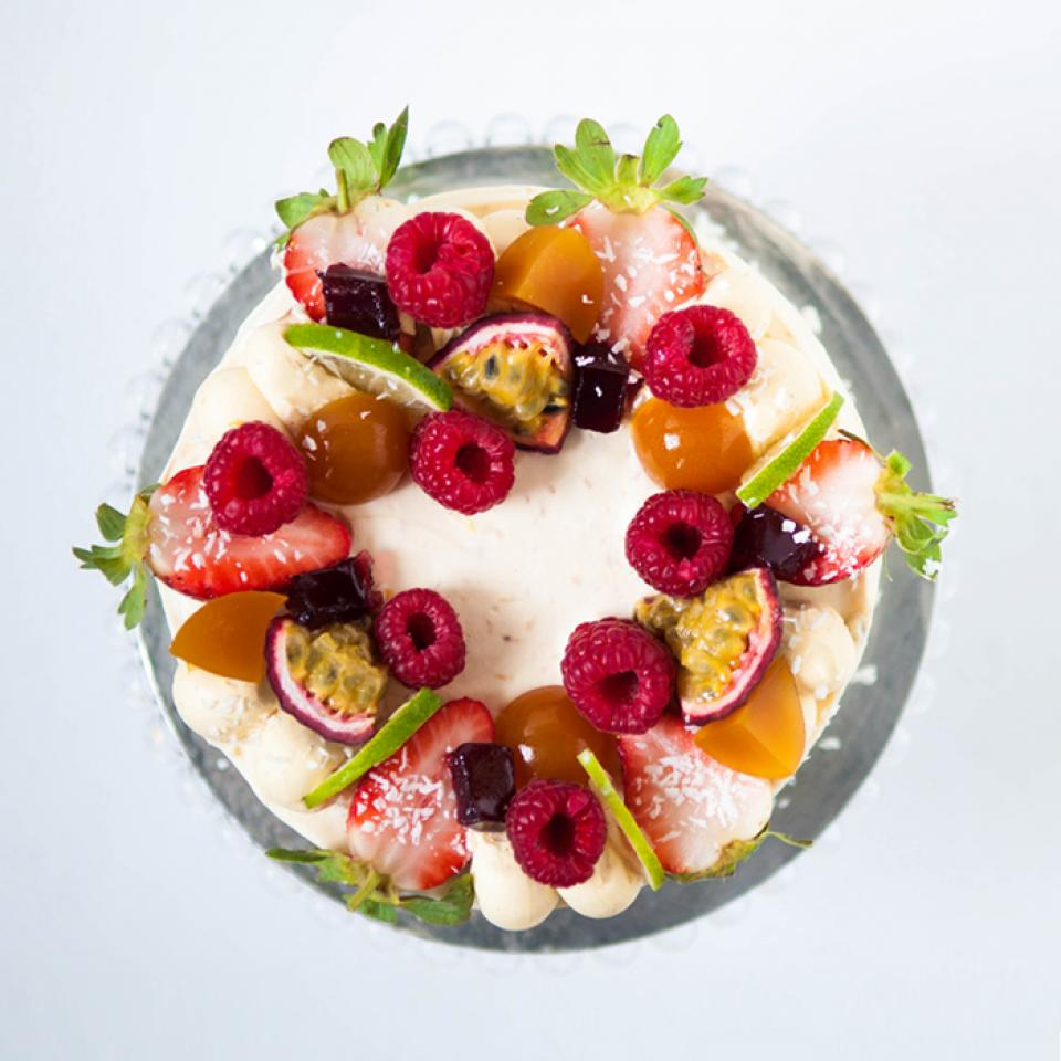 "8"" passion fruit coconut cake buy online London £70.00"