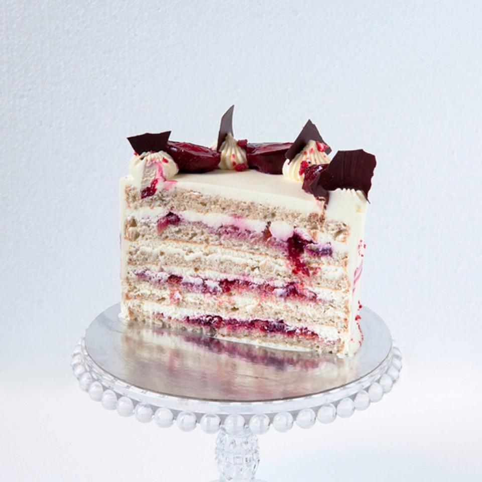 "8"" Plum amaretto almond cake £65.00 buy online London"