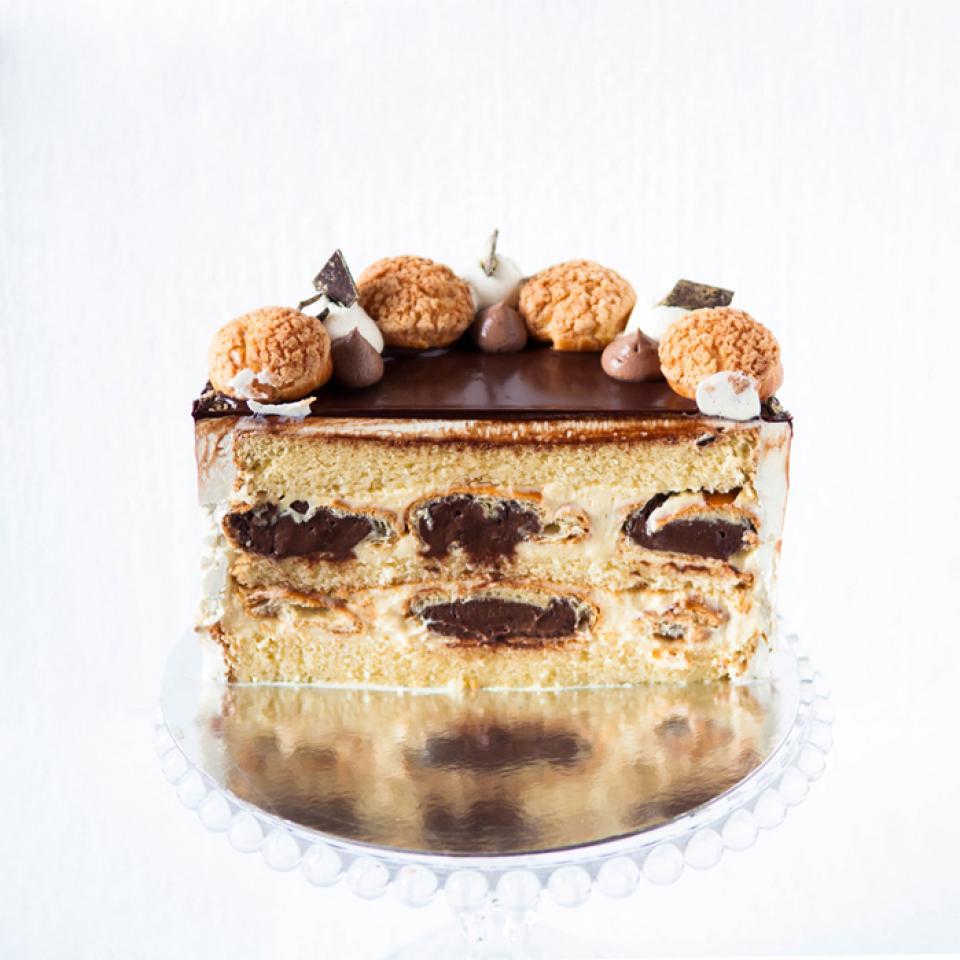 Birthday profiterole cake with inscription buy online London